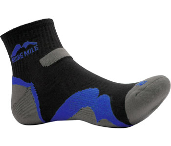More Mile Performance Running Socklet Black Ventilated Mesh Race Sock Fitness, Running & Yoga